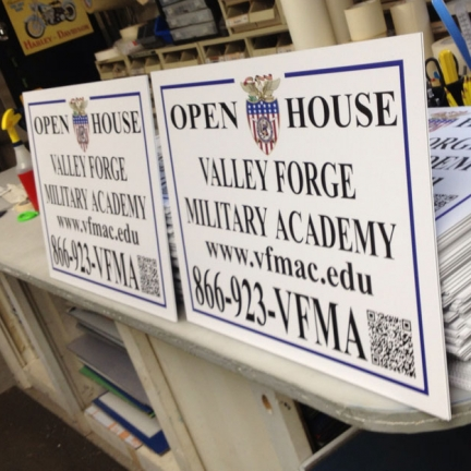Valley Forge Military Academy Open House Signs