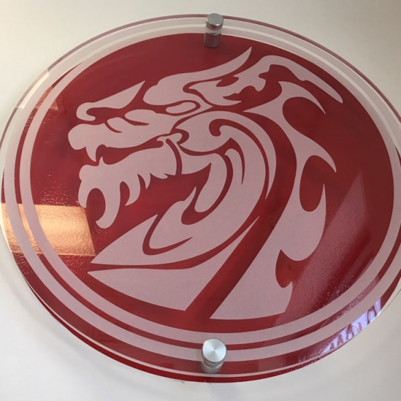 Shaolin Dragon Etched Glass