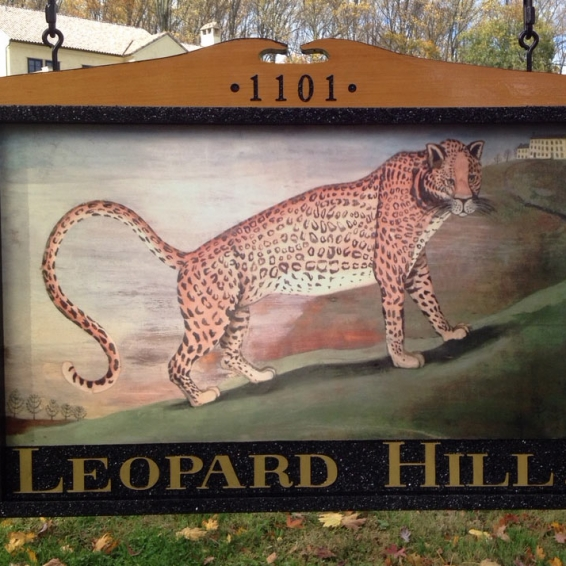 Leopard Hill Redwood Sign closeup