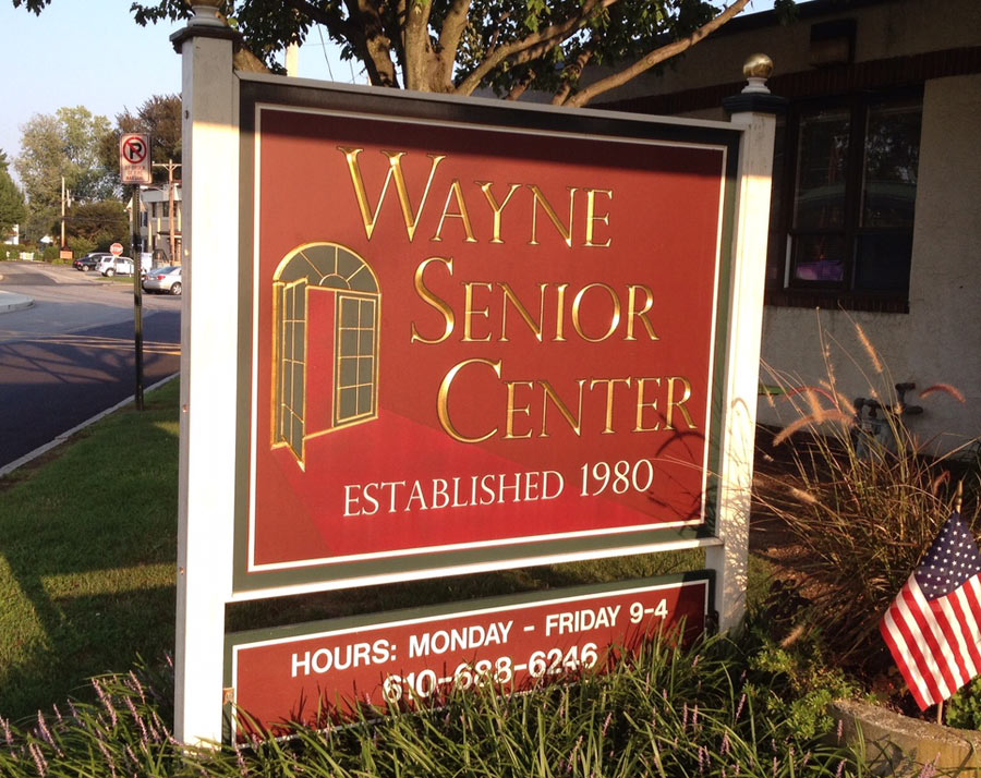 Wayne Senior Center Redwood Post & Panel Sign Studios