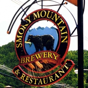 Smoky Mountain Brewery Redwood Hanging Sign