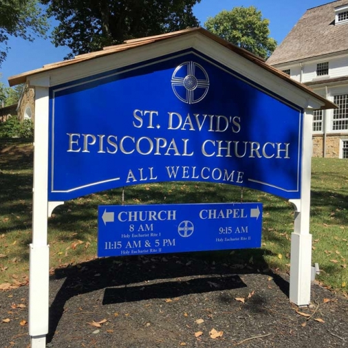 St. David's Episcopal Church Post & Panel with Hanging