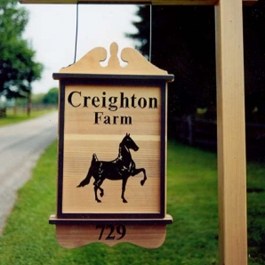 Creighton Farm Redwood Sign