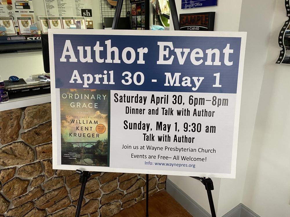 Wayne Presbyterian Church Author Event Sign on Stand