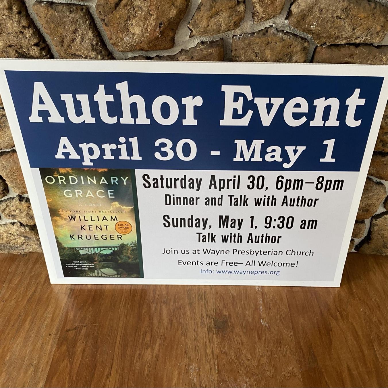 Wayne Presbyterian Church Author Event Sign