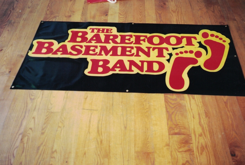 Barefoot Basement Band Banner Sign Studios
