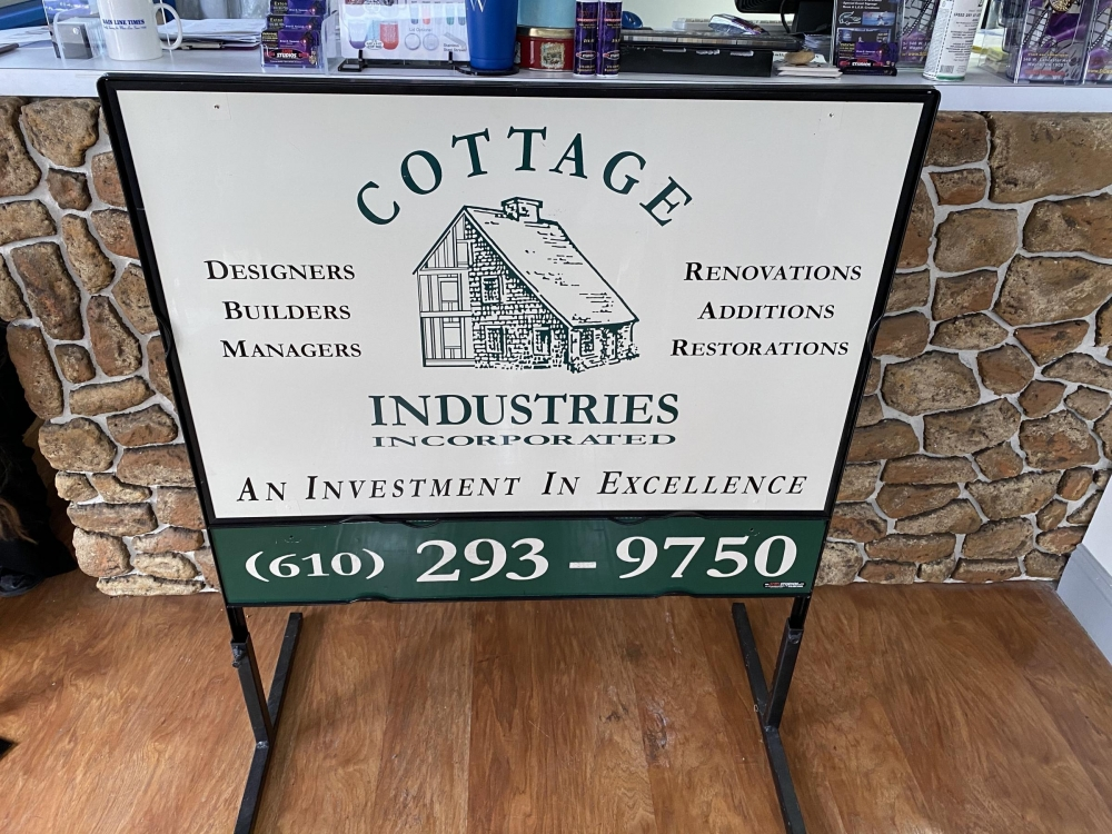 Cottage Industries Sign in Metal Frame