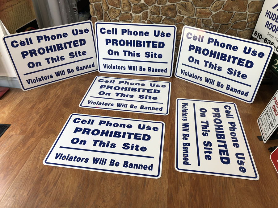 Cell Phones Prohibited Safety Signs