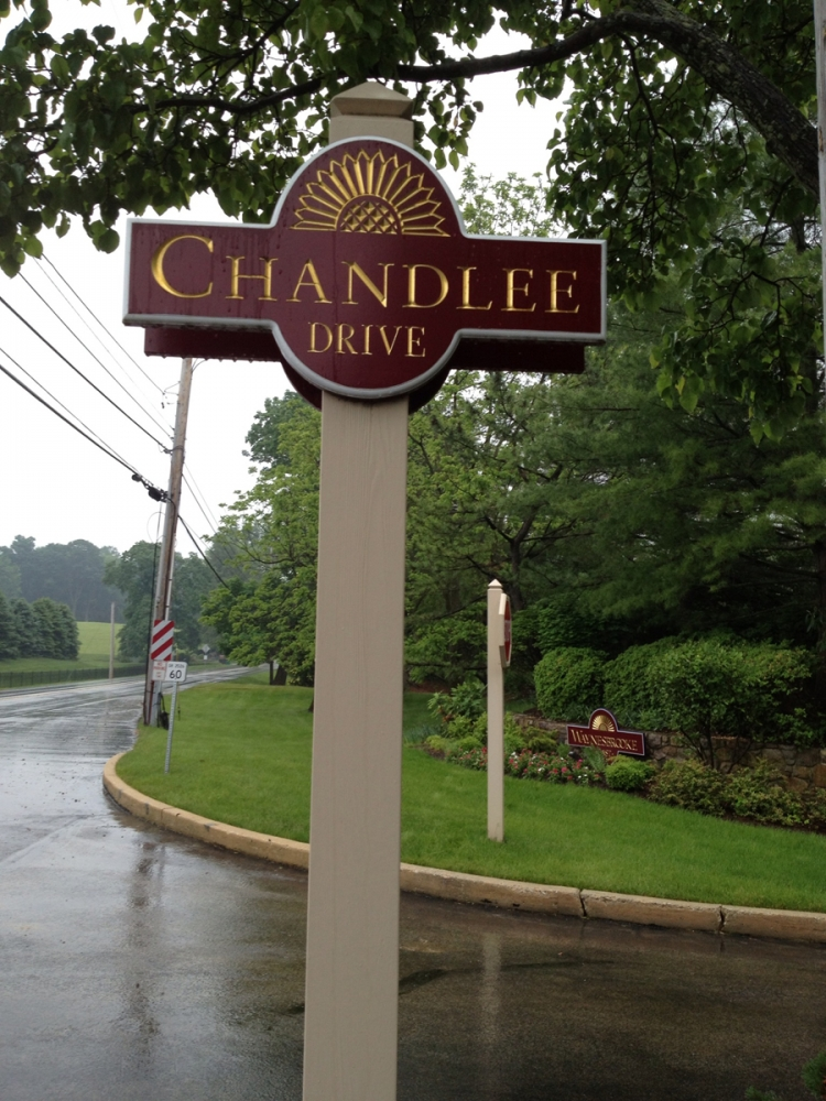 Chandlee Drive Redwood Sign