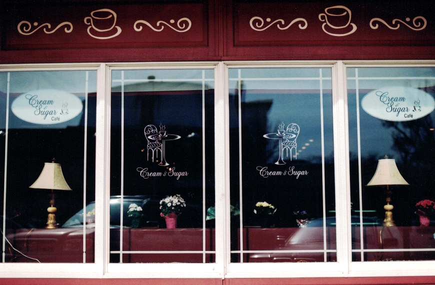 Cream  Sugar window lettering