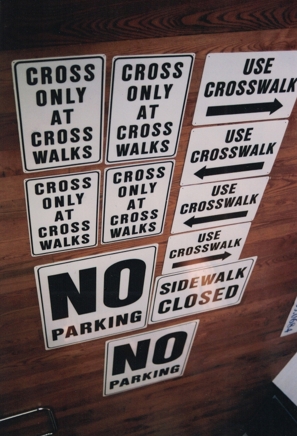 Crosswalk Parking Sign Studios