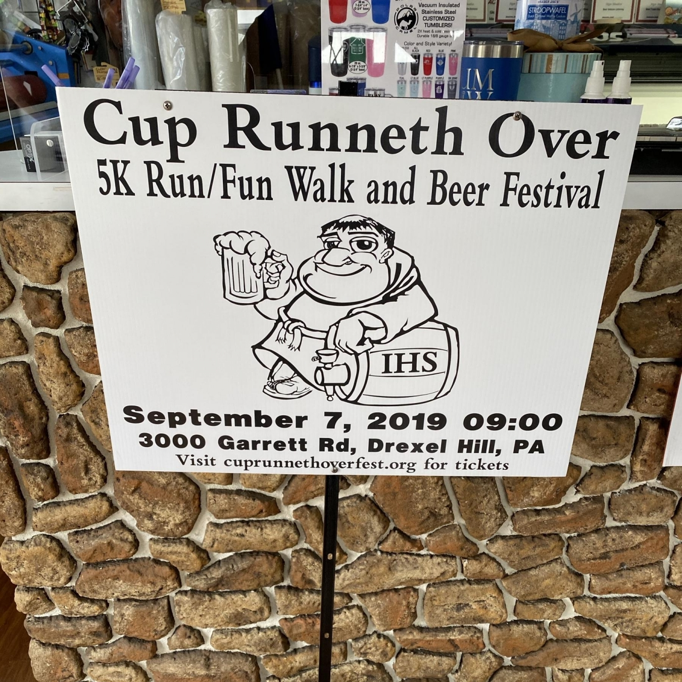 Cup Runneth Over Sign on Heavy Duty Stake