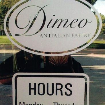 Dimeo window lettering