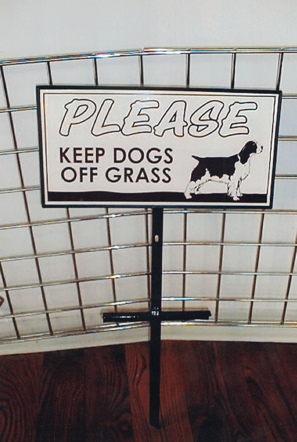 Dogs off grass directional Sign Studios