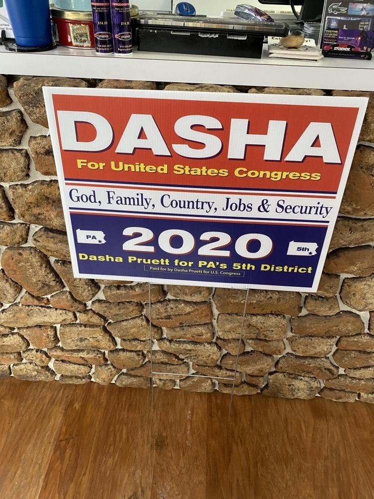 Dasha Political Sign on H-Stake
