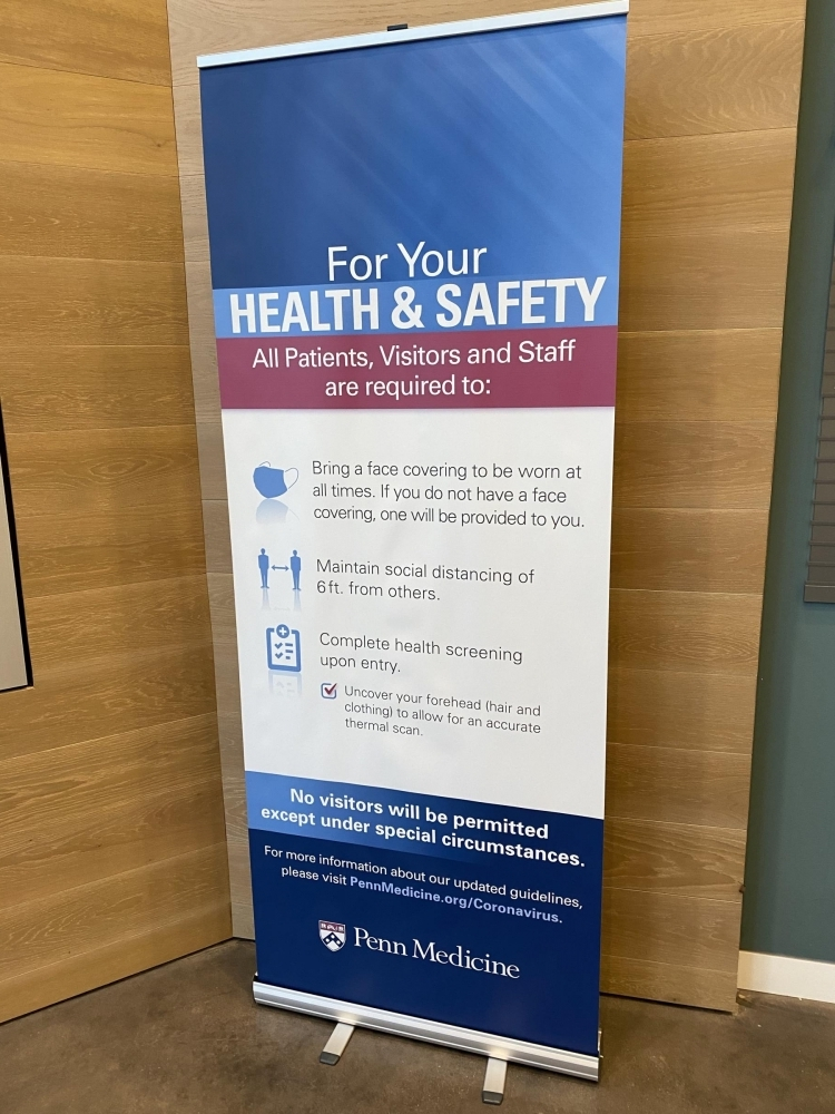 For Your Safety and Health Retractable Banner Penn Medicine