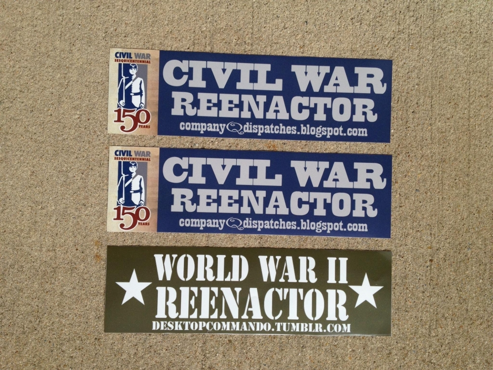 Civil War and World War II Reenactor Stickers