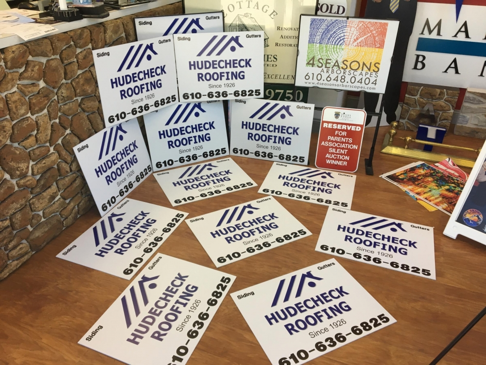 Hudecheck Roofing Signs angled