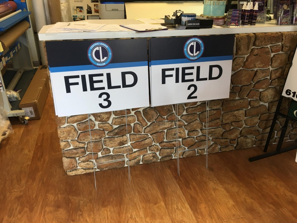 Central League Soccer Field Signs on H-Stakes
