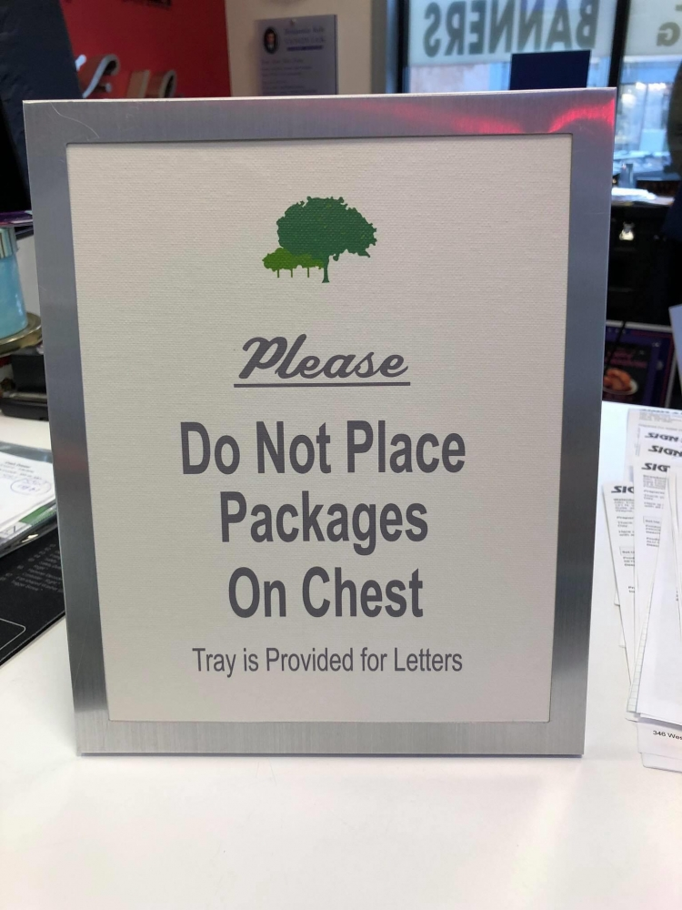 Please Do Not Place Packages Sign
