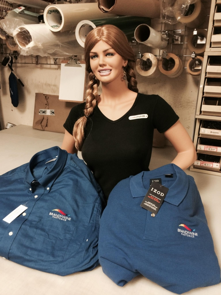 Brandywine Photonics Embroidered Shirts Held by Mannequin