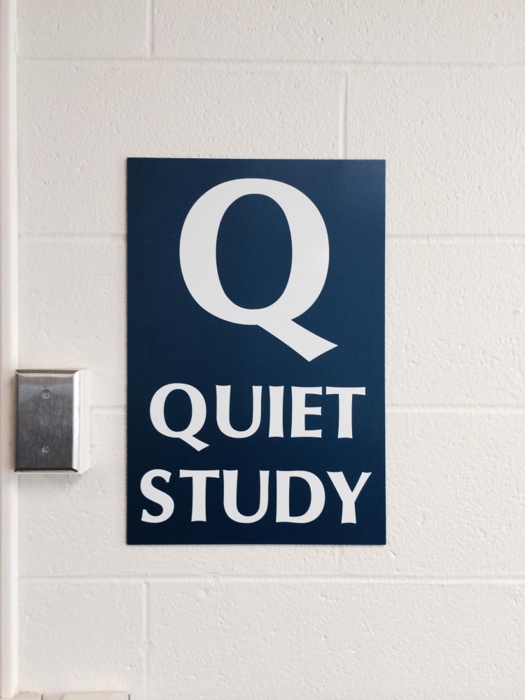 Quiet Study Library Sign