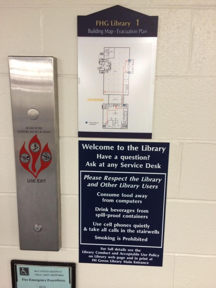 Library Evacuation Elevator Signs