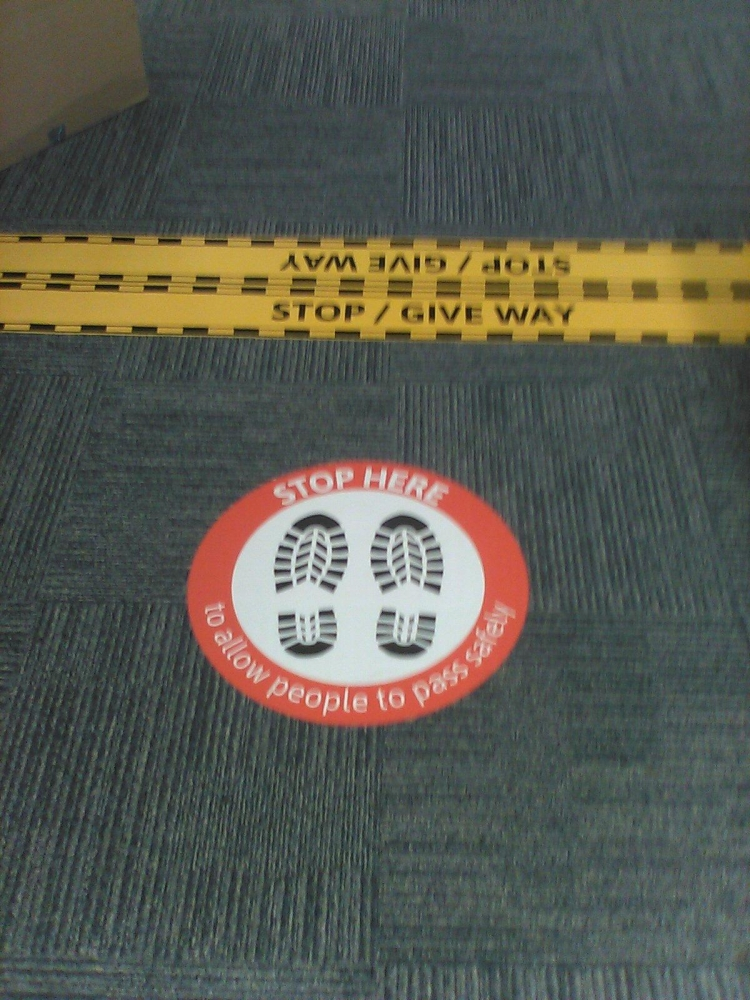 Stop Here Crossing Floor Stickers