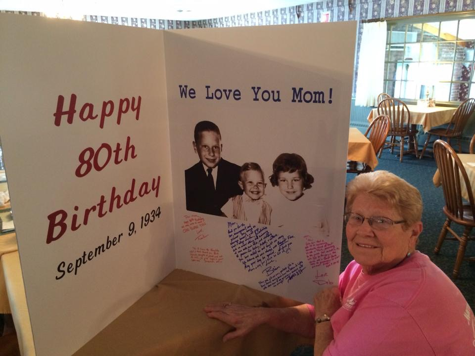 80th Birthday Card open