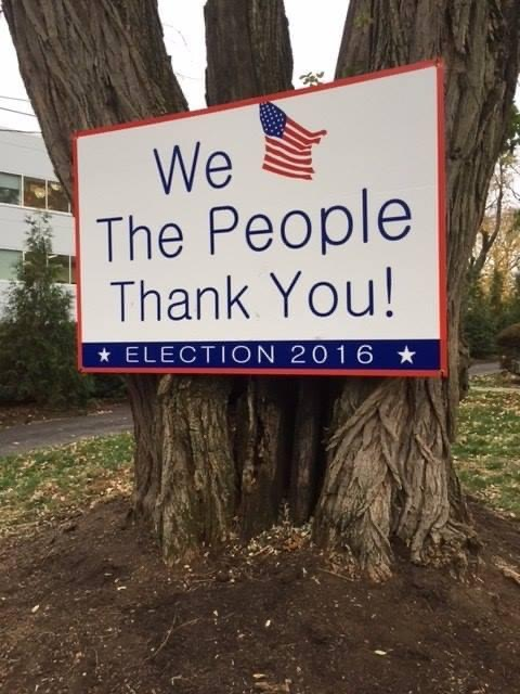 We the People Thank You Sign attached to Tree
