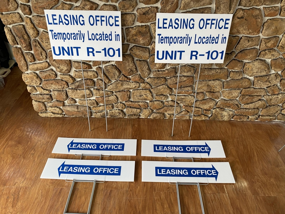 La Maison Leasing Office Signs on H-Stakes