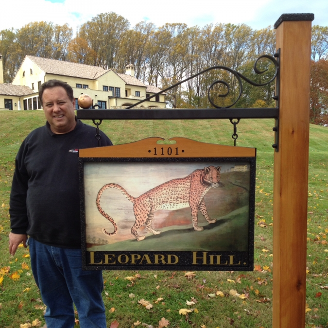 Leopard Hill hanging Sign Studios