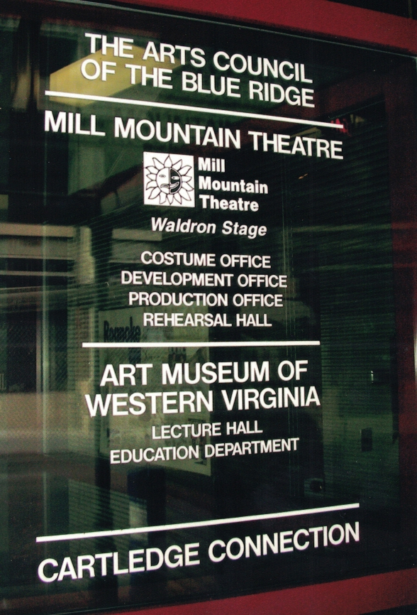 Mill Mountain Theatre window lettering