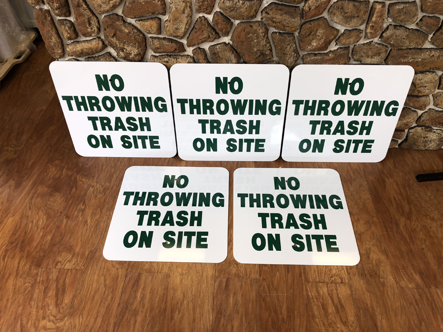 No Throwing Trash Safety Signs