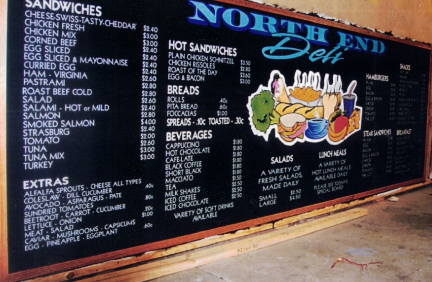 North End Deli Menu Board