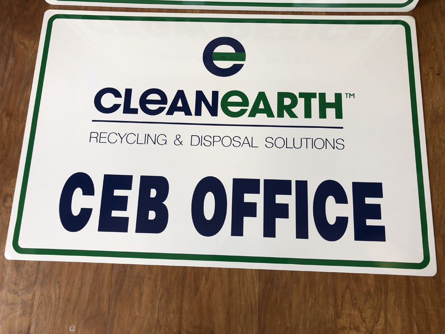 CleanEarth Office Sign closeup