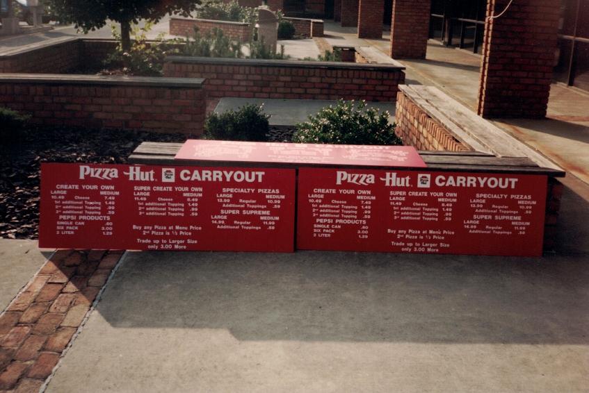 Pizza Hut Menu Board