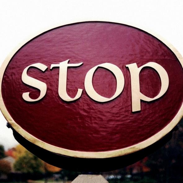 STOP SIGN Sugar Knoll redwood Sign Studios