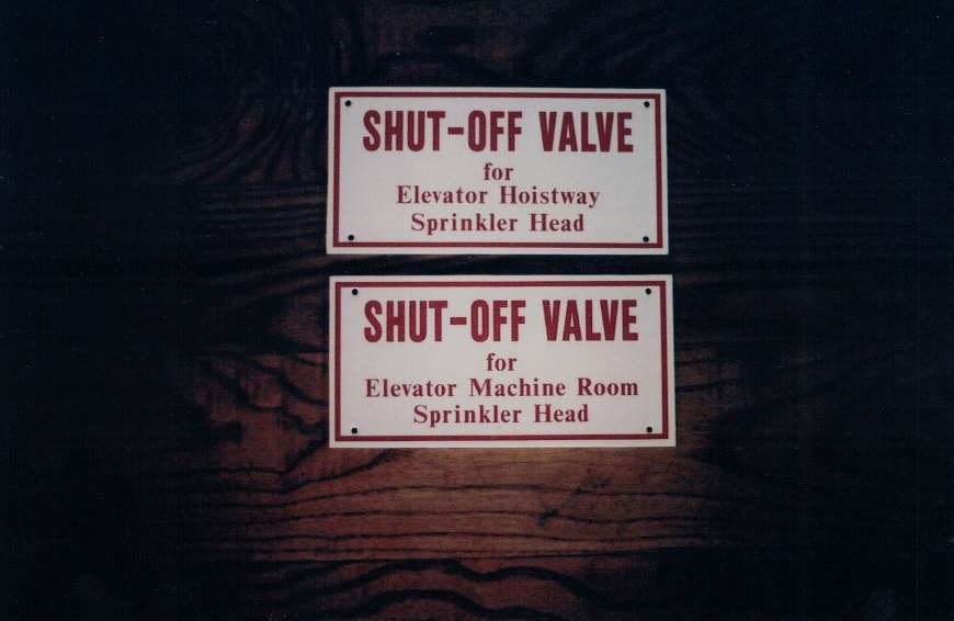 Shut off valve Aluminum Signs