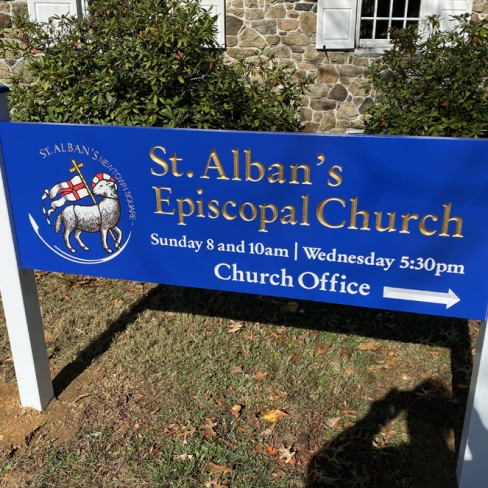 St Alban's Main Sign Front View Sign Studios