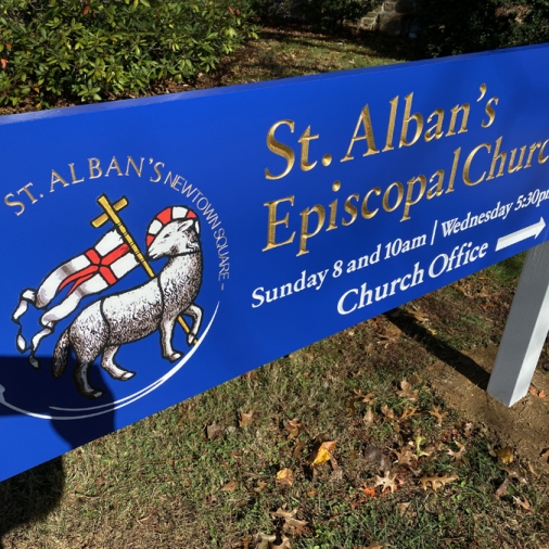 St Alban's Main Sign Side View