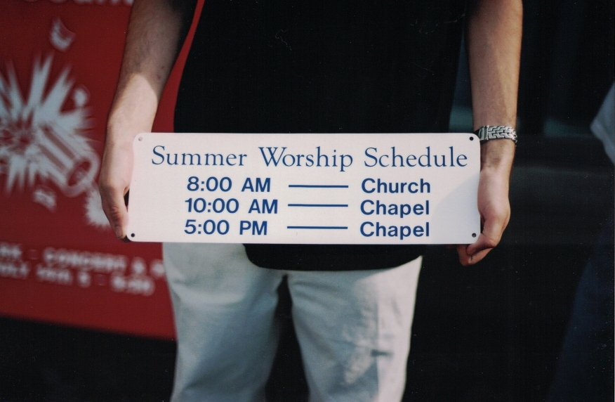 Summer Worship Schedule Aluminum Sign