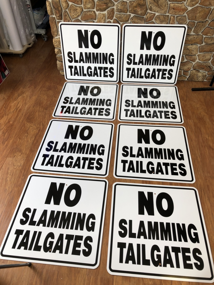 Tailgates signs safety Sign Studios