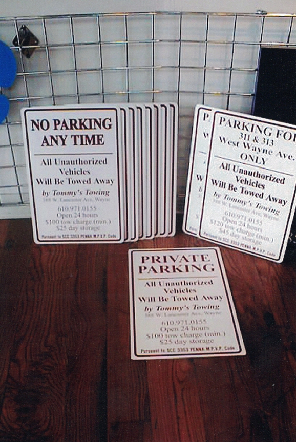 Tommy's towing parking 2 Sign Studios