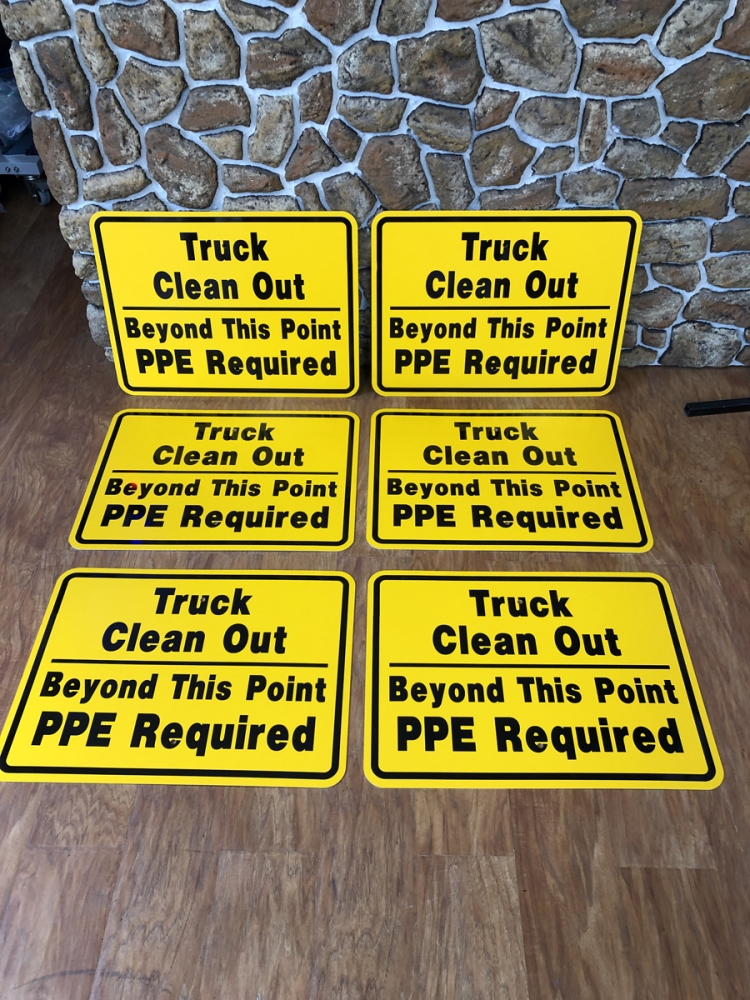 Truck Clean Out signs 2 safety Sign Studios