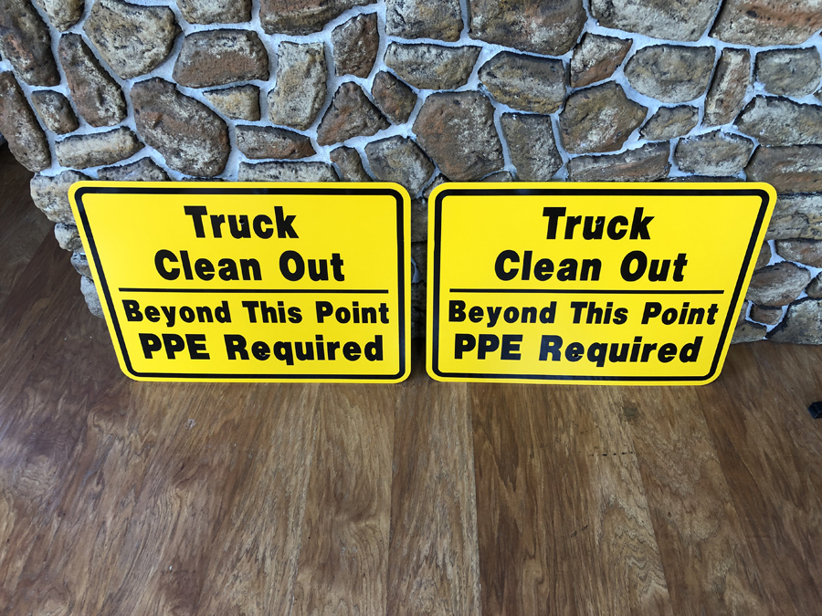 Truck Clean Out signs safety Sign Studios