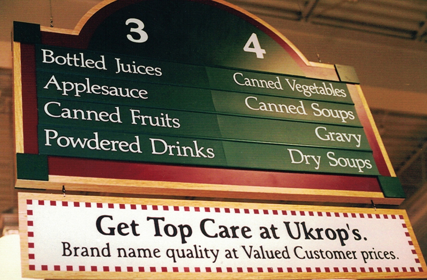 Ukrop aisle grocery Sign Studios
