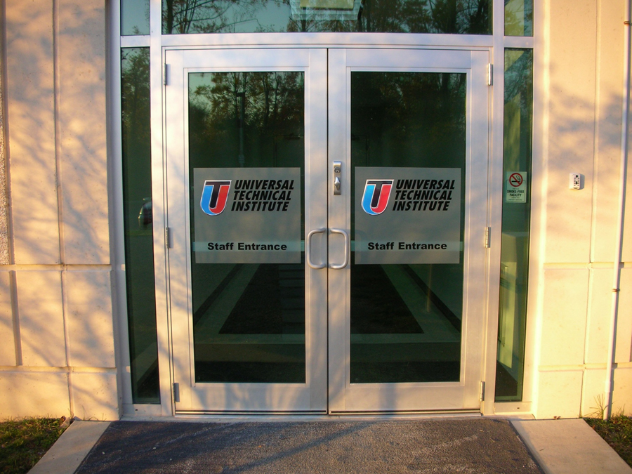 Universal Technical Institute etched glass Sign Studios