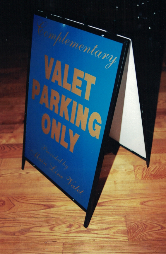Valet Parking Only gold a-frame Sign Studios