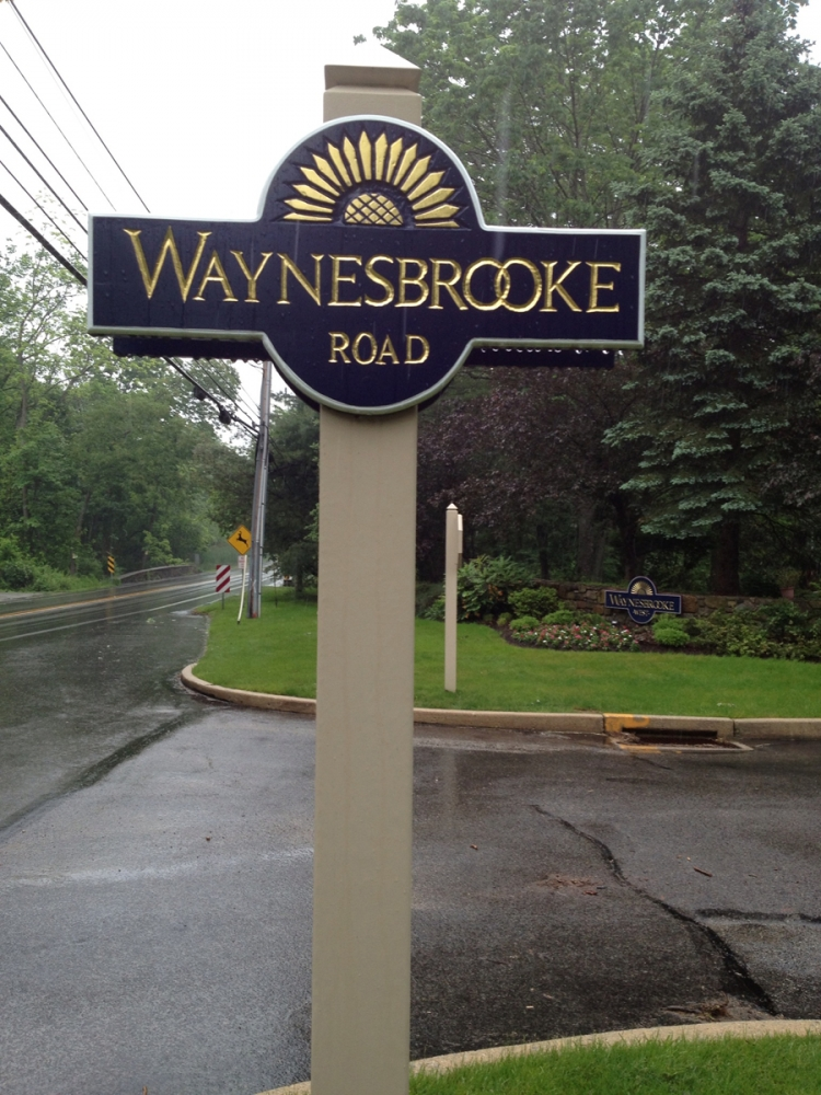Waynesbrooke Road Redwood Sign